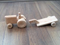 Hector the tractor- kid's wooden toy tractor with a trailer and peg man for toddlers pretend play Diy Wooden Toys Plans, Wooden Toy Trucks, Wooden Crafts, Wooden Diy, Wood Kids Toys, Wooden Toys For Toddlers, Dollhouse Toys, Woodworking Toys, Diy Toys