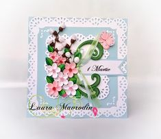 quilling my passion: Felicitare 1 Martie Quilling Flowers, Quilling Cards, Paper Quilling, Paper Flowers, Quilling Ideas, Painting Teacher, Quilling Jewelry, Blog Love, Flower Tutorial