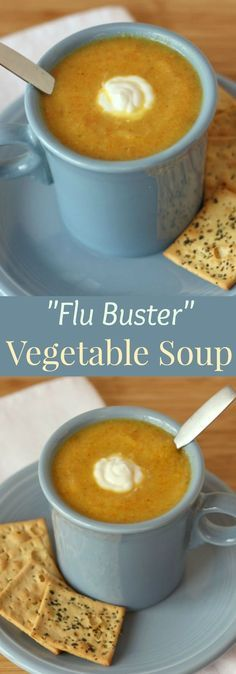 "Minus the yogurt-""Flu Buster"" Vegetable Soup recipe. A delicious, creamy vegetable soup recipe without any cream, packed with lots of antiviral goodness. Gluten free and vegan. Creamy Vegetable Soups, Vegetable Soup Recipes, Vegan Vegetable Soup, Cream Of Vegetable Soup, Vegetable Medley, Vegetable Casserole, Vegetable Salad, Vegetable Dishes, Healthy Recipes"