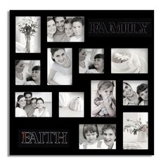Adeco Decorative Black Wood 'Faith and Family' Wall Hanging Collage Photo Frame with 12 Openings | Overstock.com Shopping - The Best Deals on Photo Frames & Albums