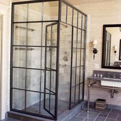"""""""Factory window shower"""" people think a lot of cool stuff. House Design, House, Interior, Home, House Styles, Factory Window Shower, Bathrooms Remodel, Bathroom Decor, Bathroom Inspiration"""