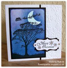 Flower Sparkle: Tree, Moon, Santa & Sleigh Merry Christmas Card