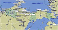 Waterfalls of Michigan's U.P.    My favorite is the Munising Falls and it isn't even on this map!