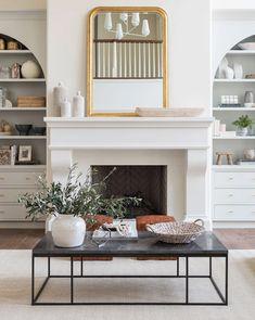 60 best home living room design ideas 3 Built In Around Fireplace, Tall Fireplace, Fireplace Built Ins, Fireplace Remodel, Living Room With Fireplace, Fireplace Surrounds, Fireplace Design, White Fireplace Surround, Bookshelves Around Fireplace