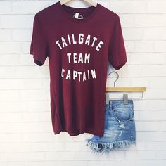 Shop this look online now!  Tailgate Team Captain Tee - $39 Summertime Shorts - $48 Click, Shop and Ship!  Find this outfit online, by CLICKING…