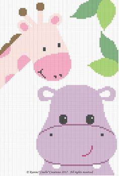 Crochet Baby Girl Crochet Patterns - Hippo And Giraffe Color Graph Baby Girl Afghan Graph Pattern - Baby Girl Crochet Blanket, Baby Girl Blankets, Crochet Baby Booties, Baby Afghan Patterns, Baby Afghans, Crochet Blanket Patterns, Crocheting Patterns, Crochet C2c, Tapestry Crochet