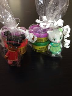 Daniel tiger party favors. Buy the pack of 5 characters and a  party bag of Play-doh. $2.50 per piece.