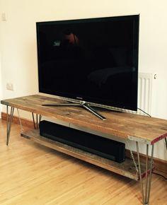Scaffolding board TV table with steel hairpin legs