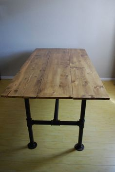 Wood & Steel French Industrial Inspired by KristenWilkensDesign  table ideas