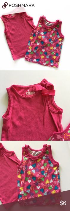 🌺Tanks Bundle🌺 Two adorable little tank tops. The hearts one is by The Children's Place and solid pink is by Circo. Both in Excellent Used Condition. Children's Place Shirts & Tops Tank Tops
