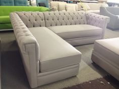 Decorations Inspiration. Snazzy Tufted Sectional For Livingroom Furniture Design And Ideas: Trendy Creamy Tufted Sectional Backseat With L Shape Models As Well As Rectangle Ottoman Tables In Open Gallery Designs