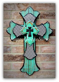MEDIUM wooden wall CROSS in Antiqued Turquoise, Aged Turquoise Wood, Black & White Chevron, with a black iron top cross. Wooden Crosses, Crosses Decor, Wall Crosses, Painted Crosses, Mosaic Crosses, Wood Crafts, Diy Crafts, Wooden Cross Crafts, Bible Crafts