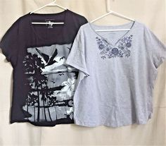 Two Cotton T-Shirts Size 2x Gray embroidered Black Graphic #FadedGloryJMS #KnitTop #Casual
