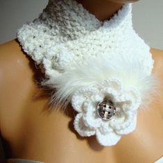 Knitted Neck warmer Winter White Scarf White Neck by RoseAndKnit