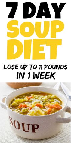 The soup diet is a method for those who want to lose weight fast – ensuring reduction of pounds in just one week. It is based on replacing meals with home-made or ready-to-eat soups, which include high-fiber and easily digestible vegetables. This diet ca Weight Loss Meal Plan, Weight Loss Drinks, Diet Plans To Lose Weight, Healthy Weight Loss, How To Lose Weight Fast, Lose Fat, Losing Weight, Loose Weight, Weight Gain