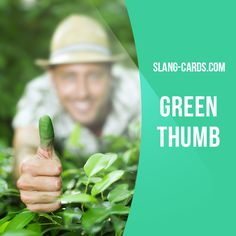 """""""Green thumb"""" means a special talent for gardening, the ability to make anything…"""