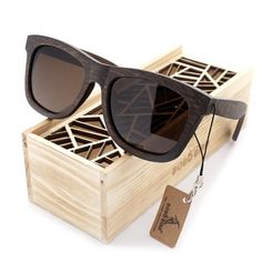 100% Natural Men's Luxury Ebony Wooden Sunglasses With Wooden Gift Box
