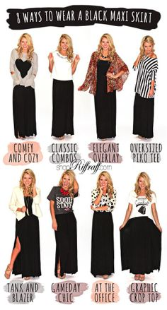 How to wear a black maxi skirt from shopriffraff.com 8 different ways! Love this fashion tutorial!