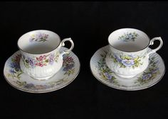 Pair of  Queens Bone China Wild flower footed by MayberryGraphics