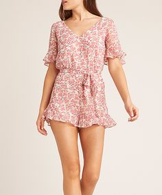 Look what I found on Dusty Rose Floral Picking Roses Surplice Romper - Women Rompers Women, Floral Romper, Dusty Rose, Roses, One Piece, Bb, Sash, Design, Sweet
