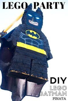 do it yourself divas: DIY LEGO Batman Birthday Party. How to make the batman sign / symbol. Perfect party goodie bags for a lego birthday party. Batman Pinata, Lego Pinata, Lego Batman Cakes, Lego Batman Birthday, Lego Batman Party, Lego Birthday Party, Superhero Party, Batman Cupcakes, 5th Birthday