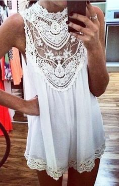White Chest Hollow-out Sleeveless Shift Lace Dress