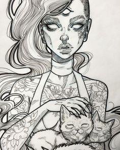 cat lady illustration