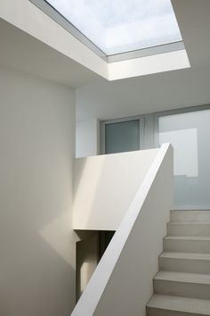 Wiel Arets Architects created V' House for a couple that collects vintage cars, and is stitched within the medieval tapestry of Maastricht. As the house's. Interior Architecture, Interior And Exterior, Interior Design, Skylight Blinds, Skylights, Skylight Bedroom, Roof Light, House Stairs, House Windows
