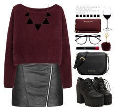 """""""Carolina"""" by fionita ❤ liked on Polyvore featuring Topshop, Steven Alan, H&M, Riedel, Armani Beauty, MICHAEL Michael Kors, Michael Kors, Elite, black and red"""
