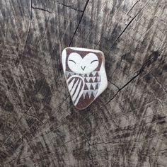 Brown Beach Pottery Owl by LillaJizo on Etsy