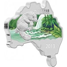 2013 #Platypus #Australia Map Shaped 1oz Silver Coin - The iconic platypus is the fourth design featured in the exciting Australia Map Shaped Coin Series.