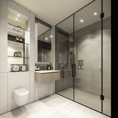 The bathrooms are set to include large walk-in showers with bronze tinted nickel framed sh...