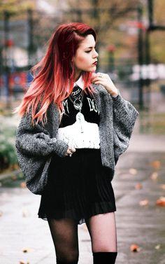 grey sweater - white shirt - black skirt