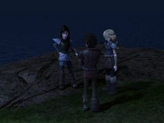 """Heather: """"Hiccup, you're missing the point!"""" Astrid: """"He does that from time to time."""" Hiccup: """"What...? No I don't.."""""""