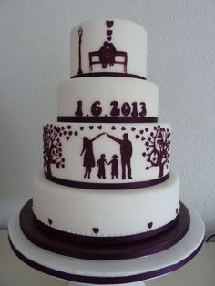 round wedding cake with silhouettes - AppleMark