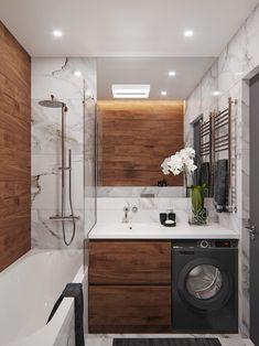 Kleines Loft in Behance - Loft Bedroom Bathroom Interior Design, Trendy Bathroom, Bathroom Makeover, Wooden Bathroom, Apartment Bathroom, Glamorous Bathroom, Bathroom Design Small, Luxury Bathroom, Bathroom Decor