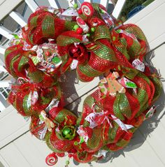 Christmas Wreath Gingerbread and Candy Deco Mesh Christmas Wreath - Red and Green Holiday Decor