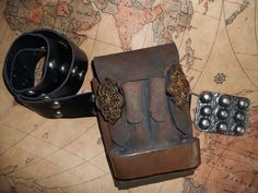 STEAMPUNK Leather Device Pouch with Belt  Custom by Pirkleations