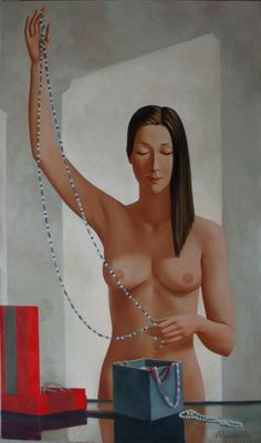 "Oil Painting 120 x 70 cm , "" Girl with a chapelt"""