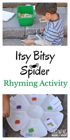 A playful rhyming activity to compliment The Itsy Bitsy Spider rhyme. Phonological Awareness Activities, Rhyming Activities, Preschool Learning Activities, Book Activities, Preschool Activities, Animal Activities, Activity Ideas, Fun Learning, Nursery Rhymes Preschool