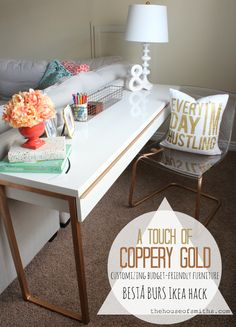 A long, narrow desk takes up little floor space, making it a perfect fit for small spaces. Follow this tutorial from blog.homes.com, courtesy of thehouseofsmiths.com to create a custom piece that's also budget-friendly.