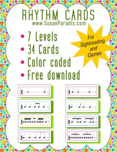 Free download of rhythm strips. Color coded by level (that in itself is worth the download!) 7 levels, 34 cards from Susan Paradis.