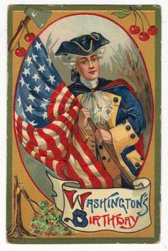 Washington's Birthday Cheery Tree, Axe, Flag Antique Patriotic Postcard N2738