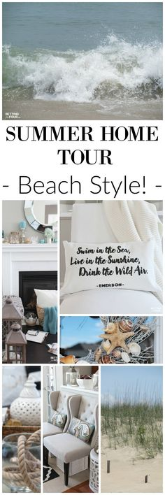 See my summer house tour! Lots of great beach style decor ideas that you can add to your home! Includes lots of DIY decor ideas and tips! www.settingforfour.com