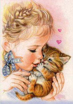 - Catherine Babok, a Russian Illustrator? Cute Images, Cute Pictures, Baby Painting, Illustrations, Cute Illustration, Vintage Pictures, Vintage Images, Vintage Children, Cat Art