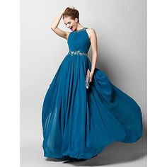 TS+Couture®+Formal+Evening+Dress+Sheath+/+Column+Jewel+Floor-length+Chiffon+with+Appliques+/+Beading+/+Draping+/+Side+Draping+–+USD+$+89.99