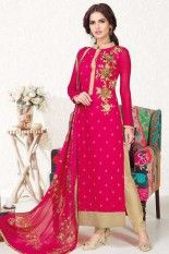 Cerise Red and Tan Brown Faux Georgette #Embroidered Party #Lawn #Kameez