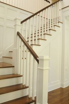 Wooden Stairs Diy Staircase Makeover Basements 22 Ideas For 2019 – Decor is art Painted Staircases, Painted Stairs, Wooden Stairs, Hardwood Stairs, Bannister Ideas Painted, Hardwood Floors, White Stairs, White Banister, White Walls