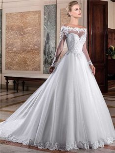 Charming Ball Gown Off The Shoulder Long Sleeve Lace Tulle Glitter Wedding Dress#bridalgown#offtheshouler#weddings