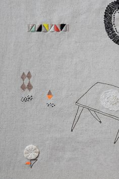 Miga de Pan's exquisite pieces are a combination of texture and line. Quiet scenes featuring woodland creatures, geometric shapes, and even architecture.